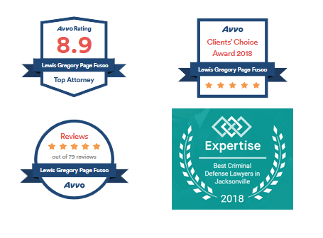 Four Lewis Fusco AVVO Badges: 8.9 AVVO Rating, Clients Choice Award 2018, Five-Stars out of 79 Reviews, Expertise Best Criminal Defense Lawyer in Jacksonville 2018