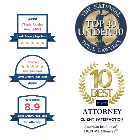 Badges awarded to Fusco Law Group, including AVVO Clients' Choice Award 2018, AVVO 5 star rating out of 92 reviews, 8.9 AVVO Rating to Top AVVO Attorney, Top 40 Under 40 from The National Trail Lawyers, and 10 Best Atorney 2015 - 1019 from American Institute of DUI/DWI Attorneys.