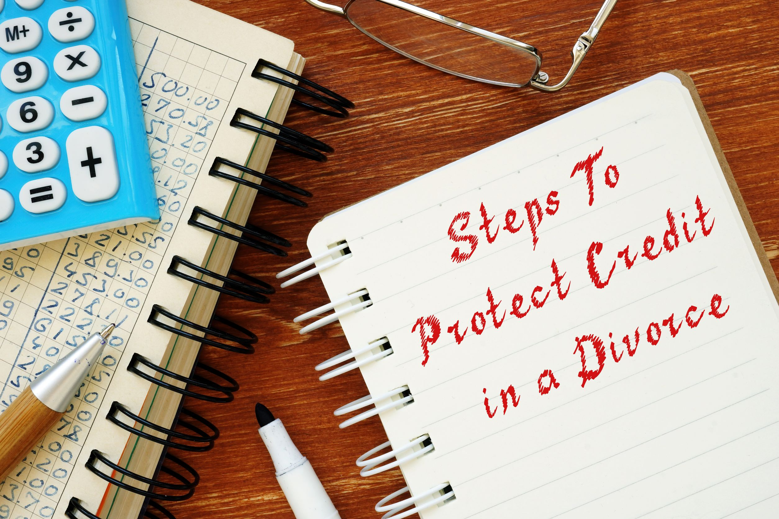 Business concept meaning Steps To Protect Credit In A Divorce with phrase on the page.